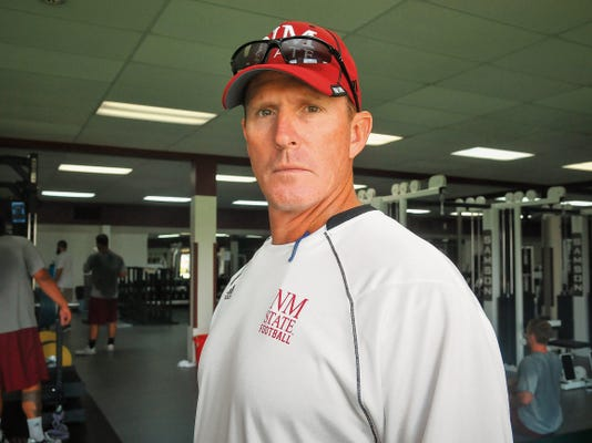 Jett Loe/Sun-News NMSU strength and conditioning coach Don Decker enters his third season at NMSU, but this is his first offseason working with the Aggies young nucleus, comprised of primarily freshmen.