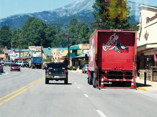 One of the issues examined in a possible realignment of Sudderth Drive/New Mexico 48 through midtown Ruidoso was how to deal with delivery trucks that block a full lane of traffic.