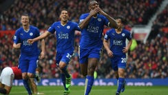 Leicester City's Wes Morgan celebrates after scoring