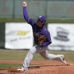 Trevor Pittman pitches for Eaton during a 2014 baseball game against Richmond at McBride Stadium.