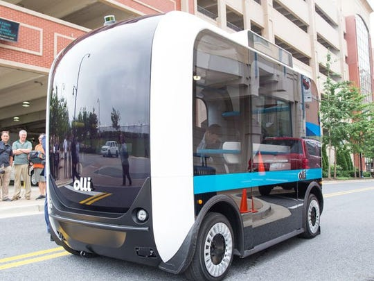 Olli is a self-driving electric minibus that Local Motors will begin producing using 3-D printing at a new Knoxville plant next year. SUBMITTED