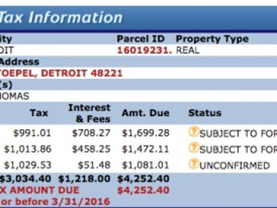 The Wayne County Treasurer's web site shows delinquent