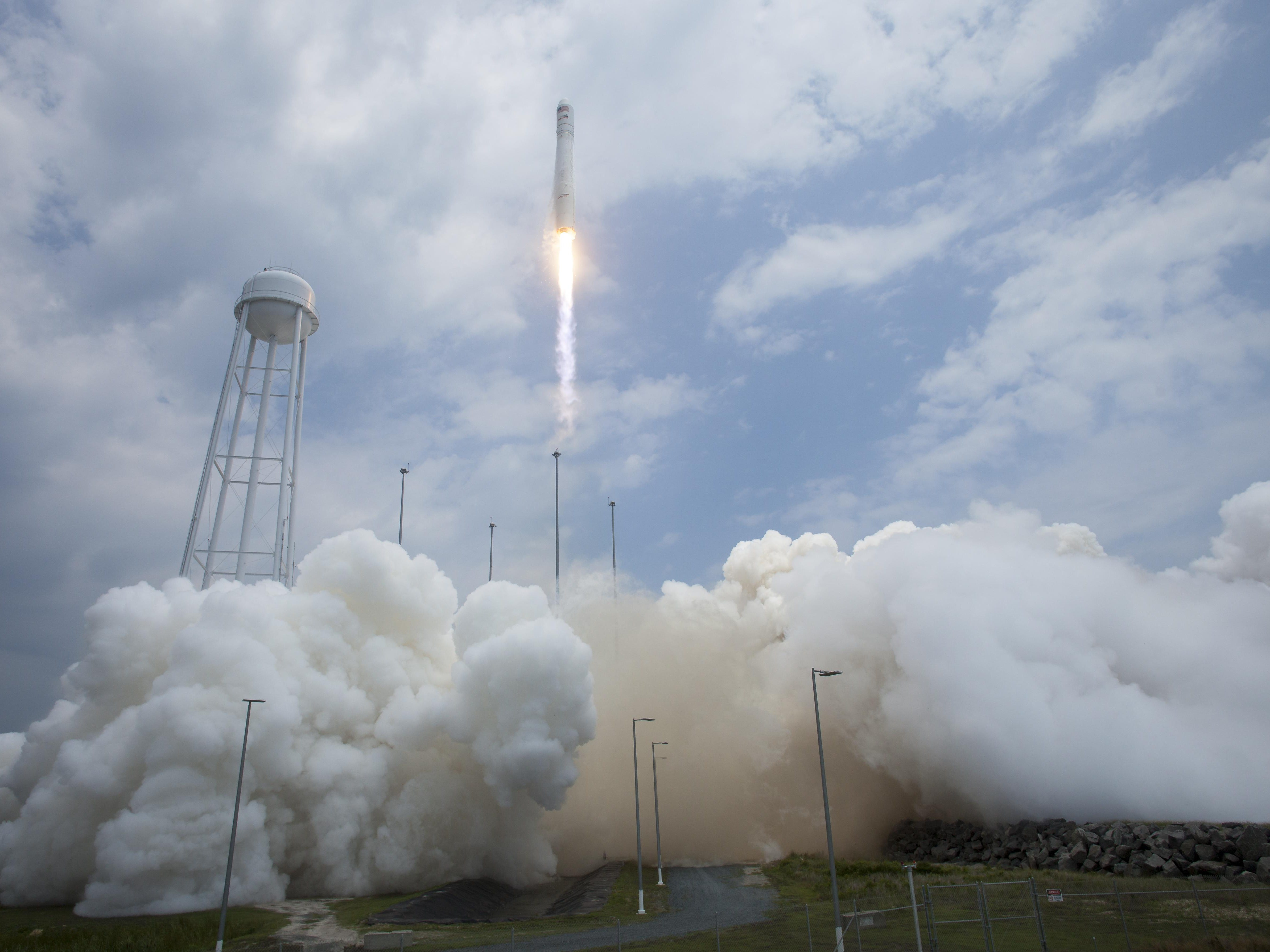 Antares rocket launches with the Cygnus spacecraft onboard July 13, 2014, at NASA's Wallops Flight Facility in Virginia.
