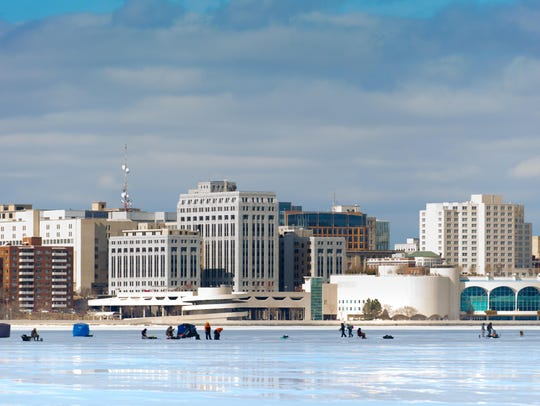 Madison, Wisconsin, winter skyline.