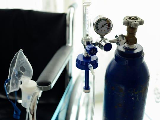 Medical oxygen tank.