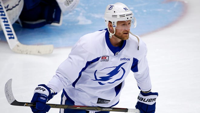 In a Sunday May 15, 2016 file photo, Tampa Bay Lightning's Steven Stamkos skates during hockey practice at the Consol Energy Center in Pittsburgh.