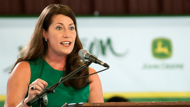 Alison Grimes, the Democratic candidate for secretary of state, speaks at Fancy Farm.