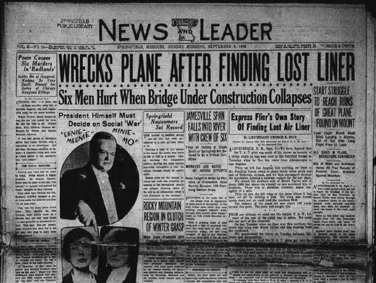 An archival rendering of the front page of the Springfield