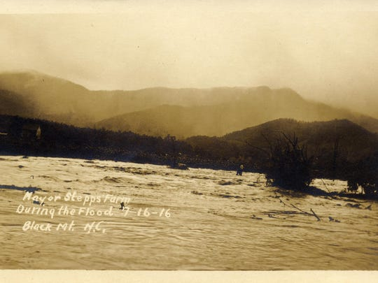 Black Mountain mayor G.W. Stepp's farm is overrun with water in this photo of the 1916 flood from the Swannanoa Valley Museum & History Center.