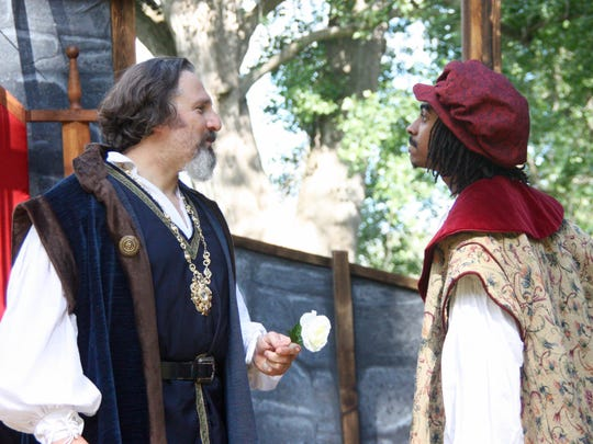 """Erik Lucas (York) and Lawrence Bierria (Somerset) star in the Ithaca Shakespeare Company's production of """"Henry VI: A Tiger's Heart."""""""