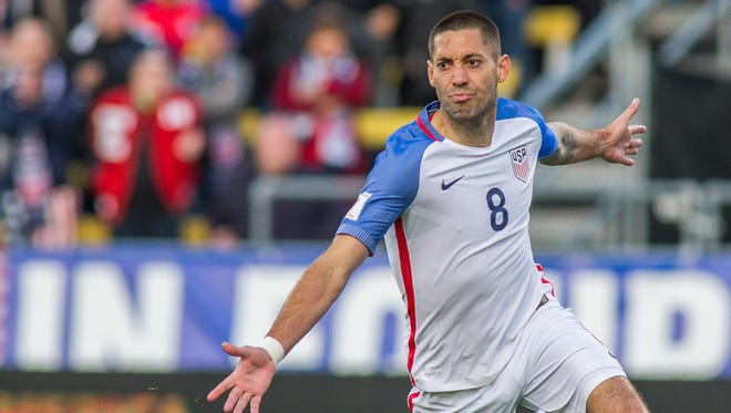 United States forward Clint Dempsey (8) celebrates after scoring a goal in the first half against Guatemala during the semifinal round of the 2018 FIFA World Cup qualifying soccer tournament.