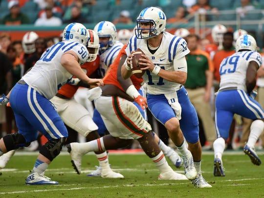 Duke quarterback Daniel Jones looks to pass against