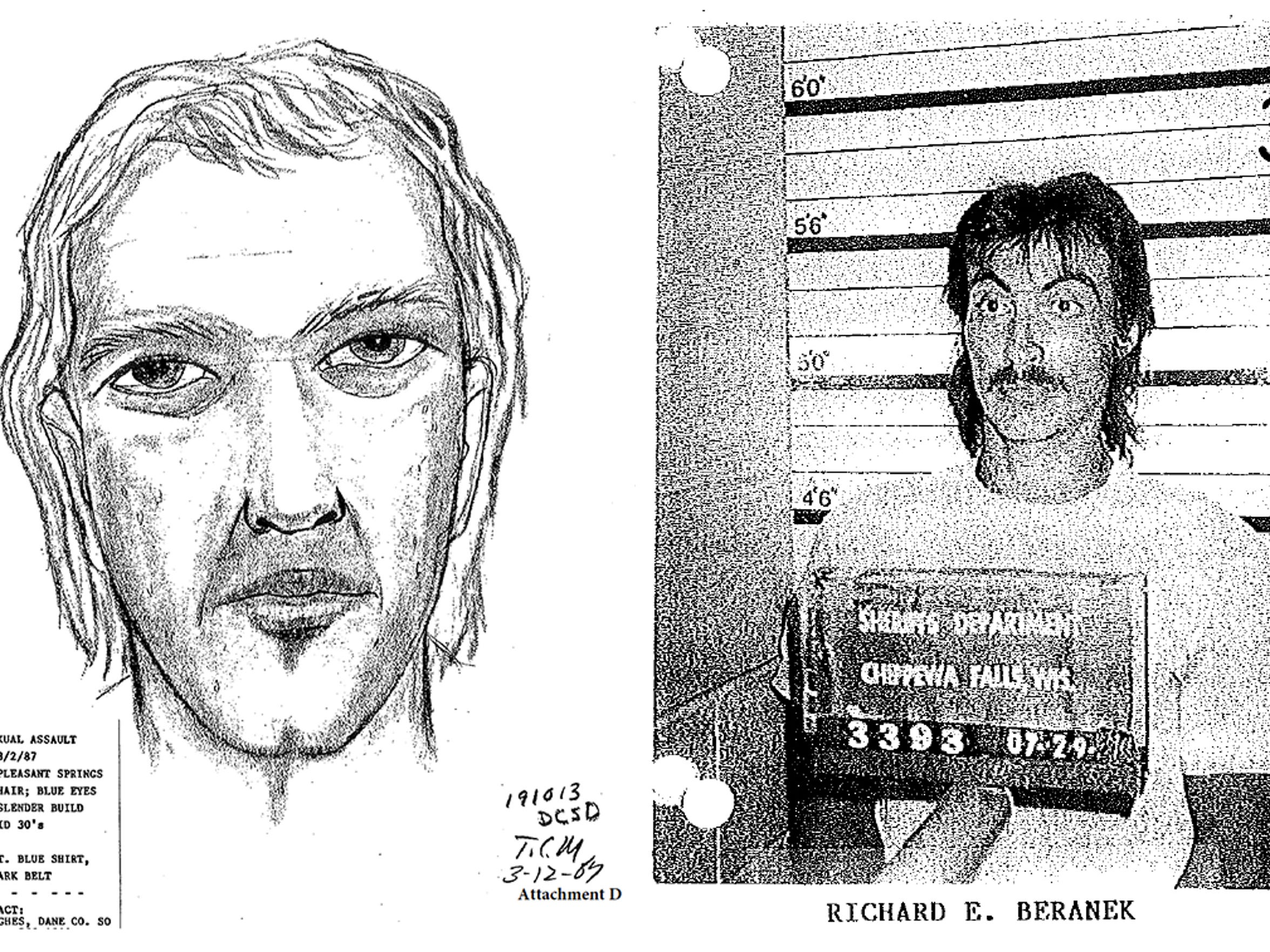 This artist's sketch, left, was produced in 1987 by