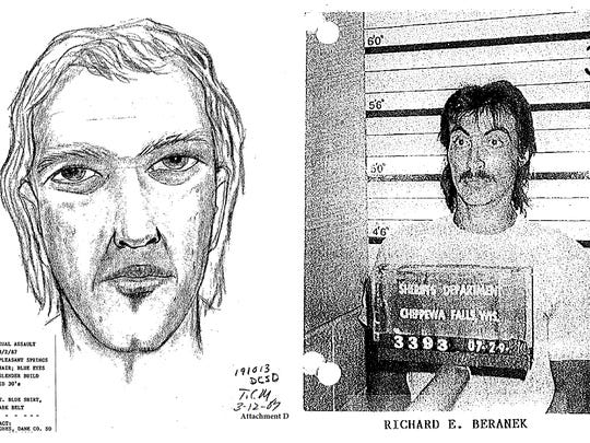 This artist's sketch, left, was produced in 1987 by the Dane County Sheriff's Department based on the victim's description of her attacker. At right, Richard Beranek became a suspect in the assault after Chippewa County, Wis., officials believed the sketch resembled Beranek, who was facing sexual assault charges there. This photo was chosen by the victim from a set of eight photos.