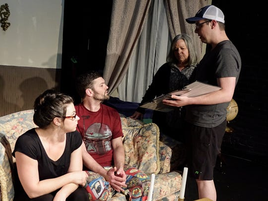 Director Gabe Ortego, right, discusses a scene with actors Erica Jure, Allen Higginbotham and Debbi Ardoin during a rehearsal of 'Wendy Unwritten' in Lafayette Weds., July 12,  2017.