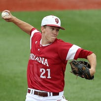 Scott Effross (center) and Indiana's deep, balanced pitching staff have cued a return to the NCAA tournament for the third-straight year.
