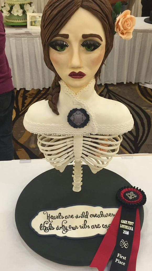 "Kayla Trahan creates elaborate cakes like this one through her home business The Cake Room. She will be competing in an upcoming episode of Food Network's ""Cake Wars."""