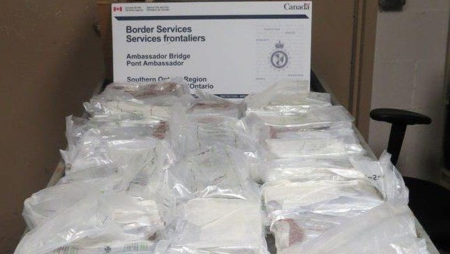 Canadian border police on Sept. 16 found about 54 pounds of cocaine in 20 bricks inside a commercial truck crossing the Ambassador Bridge into Windsor, Ontario.