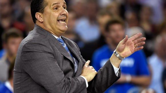 Kentucky Wildcats head coach John Calipari gestures during the semifinals of the Final Four on April 5.