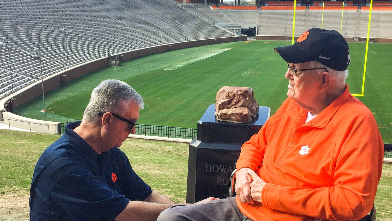 Levis Sams, 90, of Anderson, a Marine veteran and long time fan of Clemson football, recalls days of meeting Frank Howard and seeing games he coached. On Thursday, he said he was given the honor to rub Howard's Rock.
