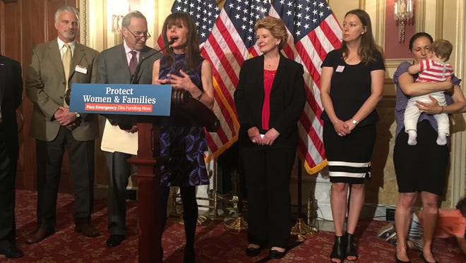 Heidi Murkoff, author of What to Expect When You're Expecting, joined Senate Democrats at a press conference on Capitol Hill May 25, 2016 to urge action on emergency funding to fight the Zika virus.