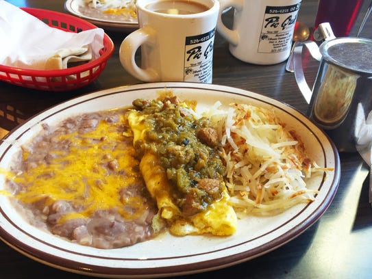 Green chile con carne omelet ($6.50) with a side of