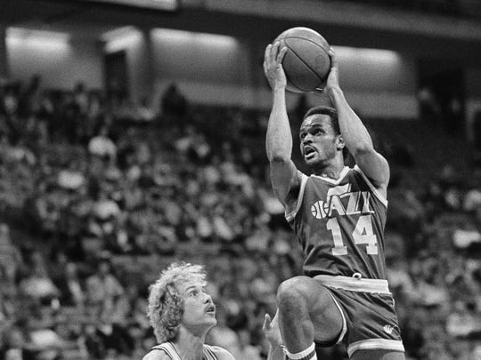 Rickey Green (14), shown with the Utah Jazz in 1982, was known as the fastest man in the NBA through much of his career.