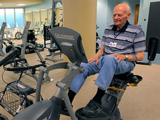 A resident using the AFRH-Washington's fitness center.