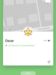 Checking out the location of a child via the Jiobit app