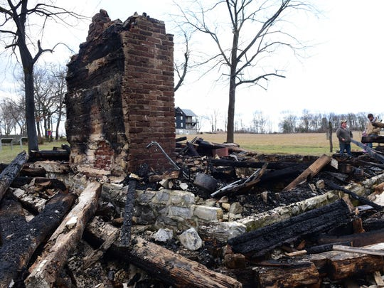 A cabin burned to the ground during a fire at Conococheague Institute early Monday morning, Feb. 29, 2016.