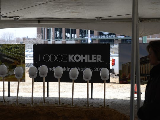 Shovels and hard hats lined up for the Lodge Kohler ground breaking Tuesday, April 5, 2016, at Titletown District, Ashwaubenon