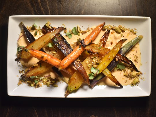 Roasted rainbow carrots at Communal Kitchen in Nyack,