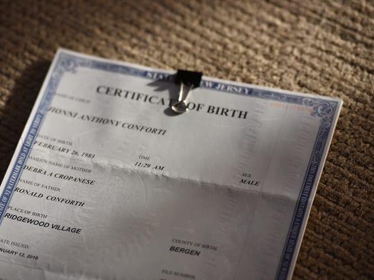 Jionni Conforti's birth certificate. Conforti, a transgender