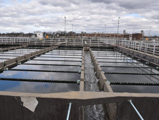 Sewage water being treated at Bergen County Solid Waste