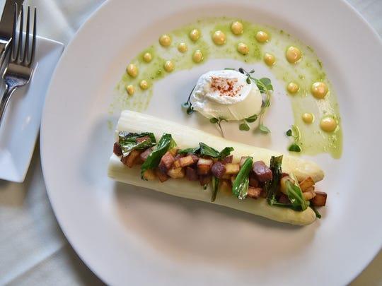Asparagus dish from chef Kevin Portscher at Village Green restaurant in Ridgewood.