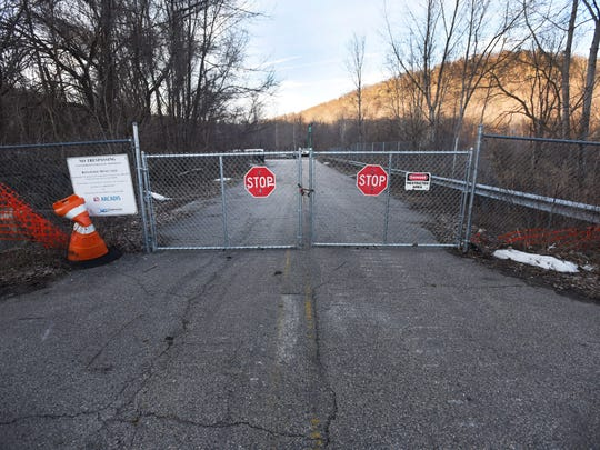 An entrance to the Ringwood Mines Superfund site located at the end of Peters Mine Road near Sheehan Drive in Ringwood as seen on Feb. 22, 2016.