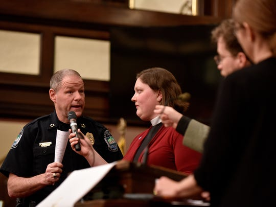 Knoxville Police Chief David Rausch answers questions at the Justice Knox forum at Central United Methodist Church on Monday April 24, 2017. (J. Miles Cary/Special to the News Sentinel)