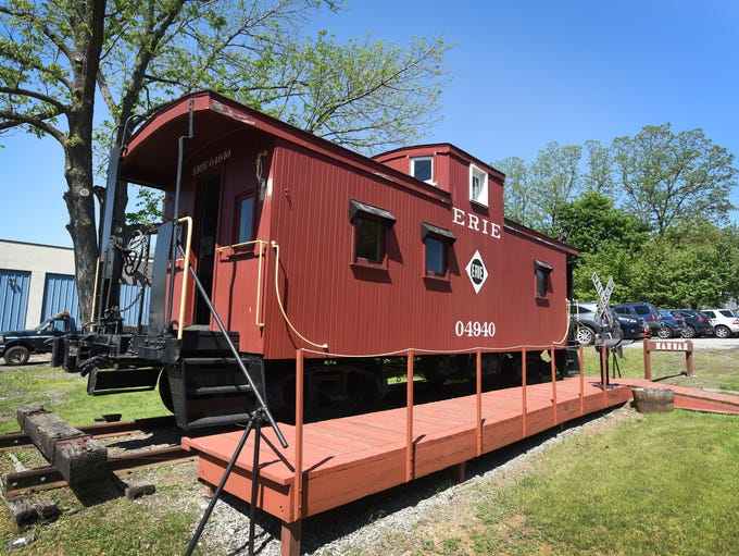 Exterior photo of Erie Center Cupola Caboose, photographed