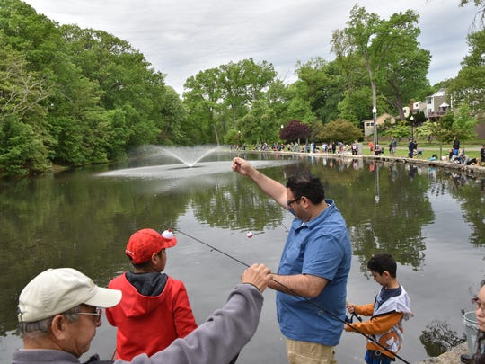 Entangled lines were part of the game at the Parks & Recreation Trout Fishing Contest in Nutley on Saturday, May 20.