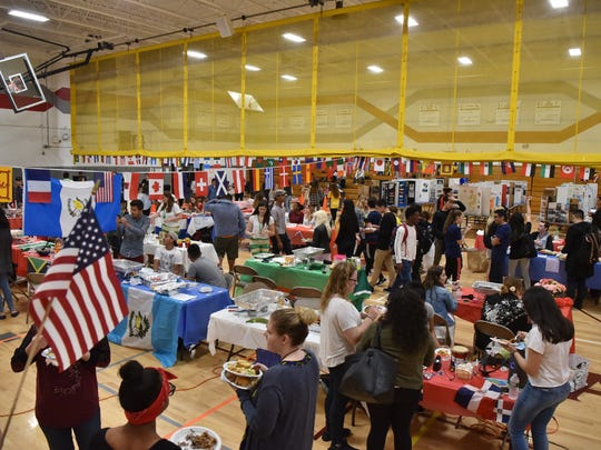 'We Are All Americans,' day, a celebration of student diversity and multiculturalism at Leonia High School on Friday.