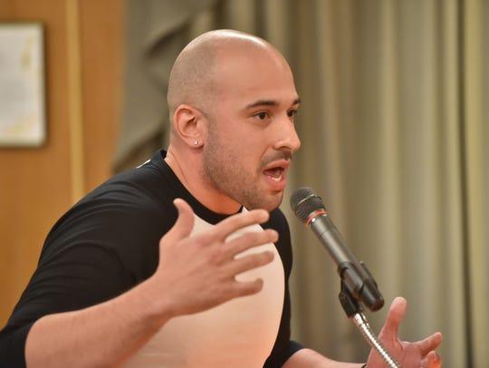 Elvin Hernandez talks to the Hackensack City Council