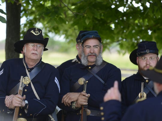 Reenactors muster as part of a Civil War event at Heritage Hill State Historical Park in Allouez in June 2017.