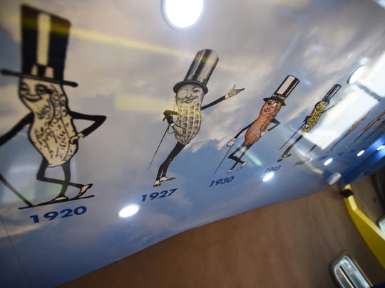 Photo of the Mr. Peanut symbols throughout history that is seen on the ceiling of the mobile, photographed on July 27th, 2017.
