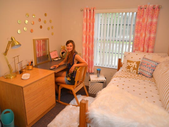 "Florida Tech student Lindsay Isaac in the ""after"" dorm"