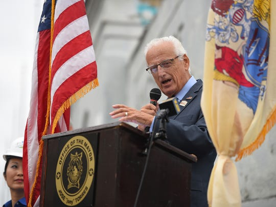Congressman Bill Pascrell speaks at the ground breaking