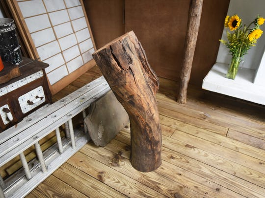 Piece of a trunk of a cherry tree that blocked the