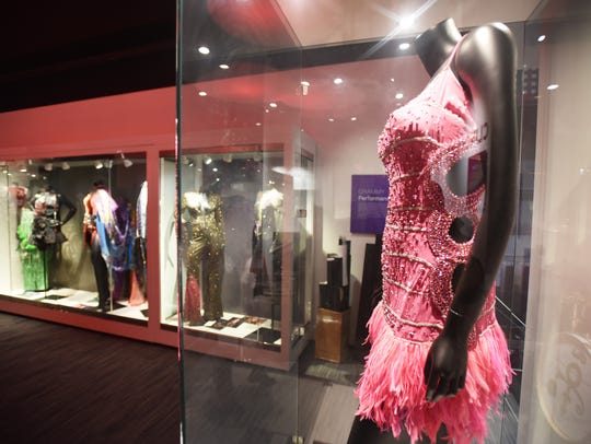 Photo of  showcases of singers costumes including Beyonce's