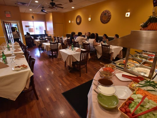 The buffet at BHOJ restaurant in Elmwood Park.