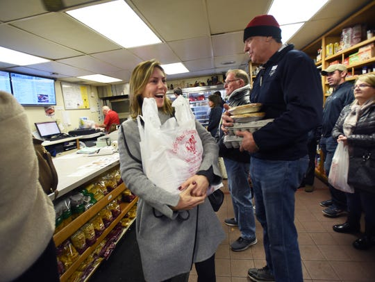 Julie Ferrara of Saddle River happily purchased a turkey