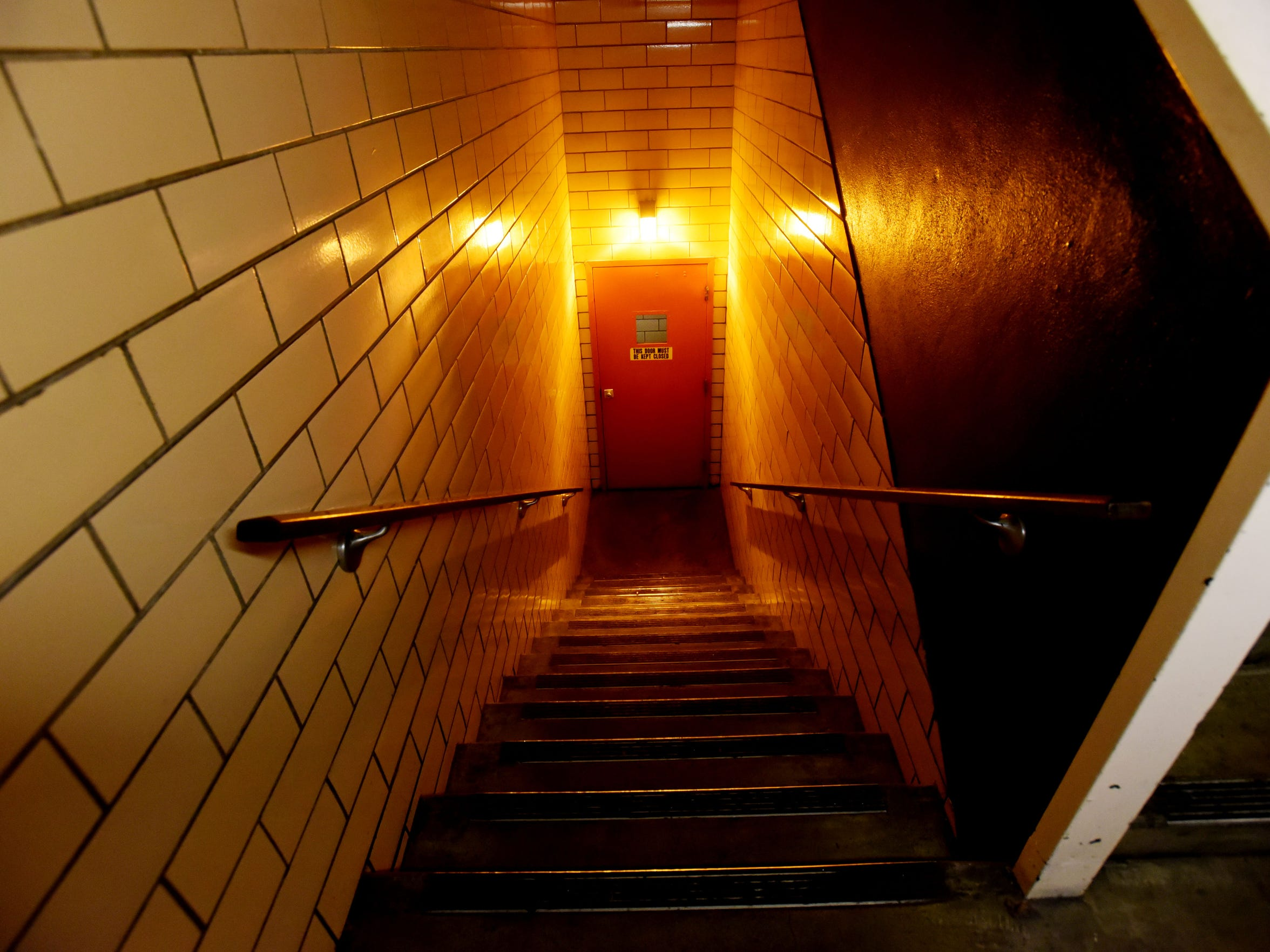 Stairs leading to the basement of the old Shreveport Times building located at 222 Lake Street in downtown Shreveport. It was listed as number 43 on the 1960's Community Shelter Plan map for Caddo Parish.